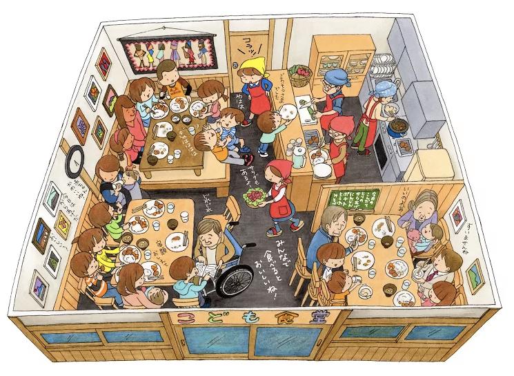 「兒童食堂」提供低價、甚至免費的餐食,讓大人、小孩可以聚集在食堂中共食。 圖/截...