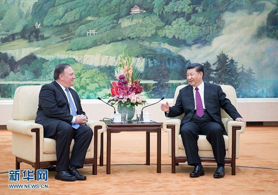 大陸國家主席習近平14日在北京人民大會堂會見美國國務卿龐培歐。(新華網)
