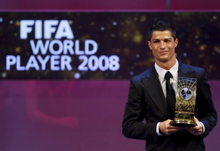 C羅在08年拿下世界足球先生冠軍。圖/摘自zimbio.com