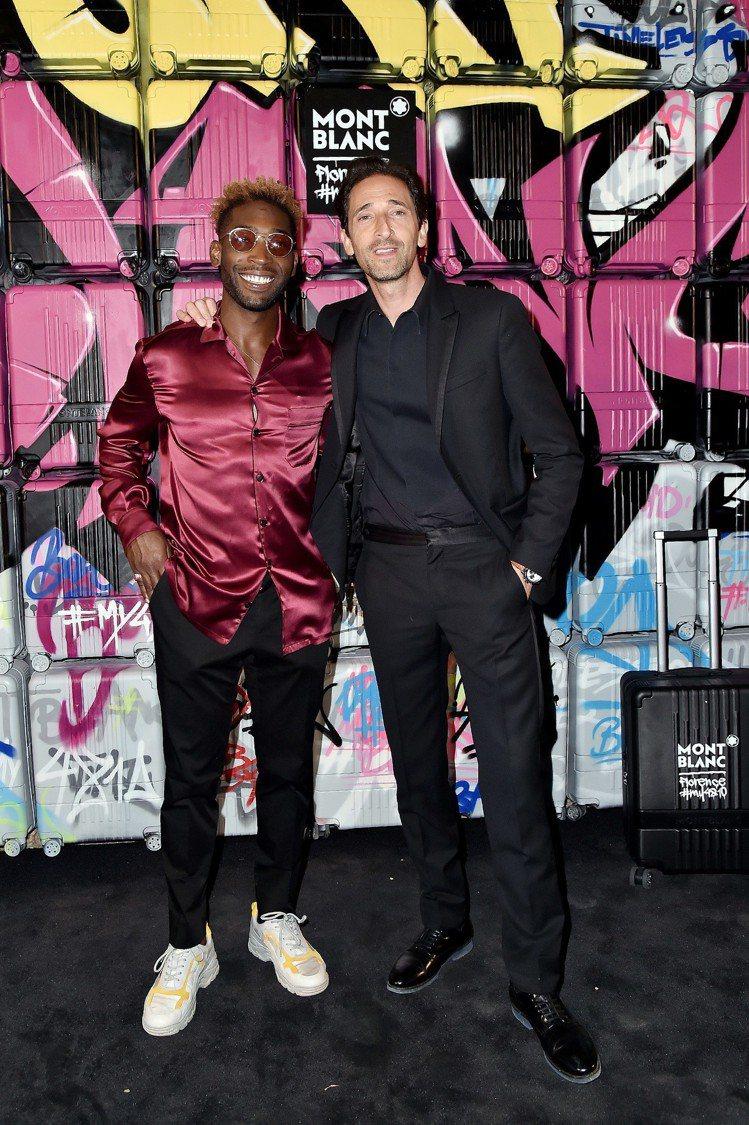 (左起)英國當紅饒舌歌手Tinie Tempah、奧斯卡影帝Adrien Bro...