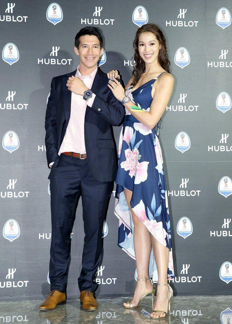 陳昌源(左)與Akemi(右)一同出席宇舶錶慶祝2018世界盃足球賽開賽活動。圖...
