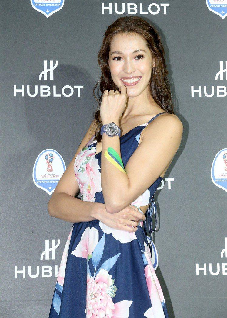 Akemi出席宇舶錶慶祝2018世界盃足球賽開賽活動。圖/記者余承翰攝影