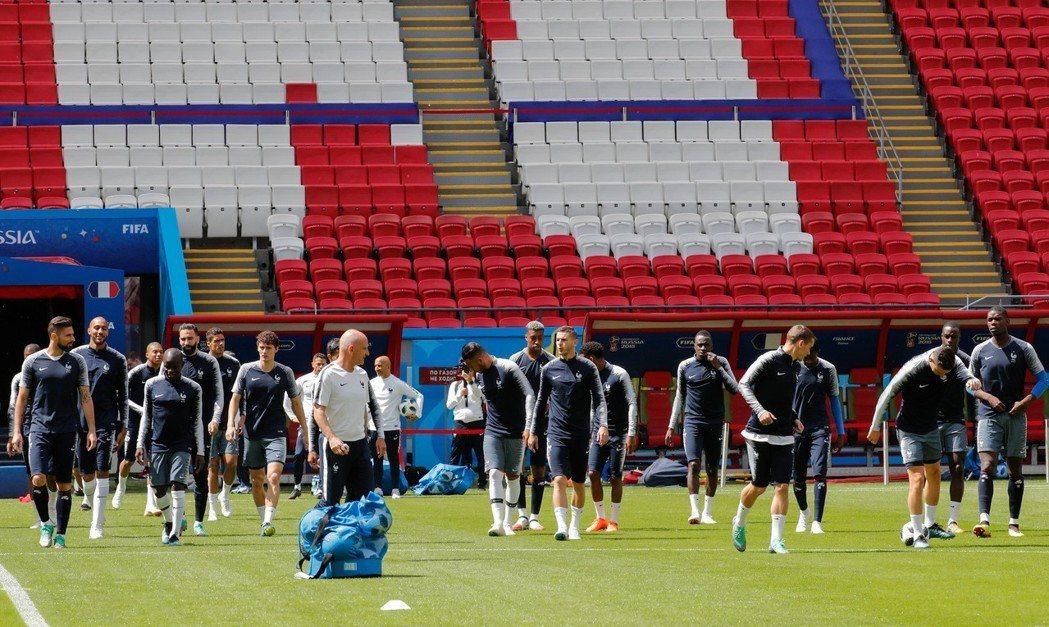法國隊備戰訓練,對決澳洲勢在必得。 歐新社
