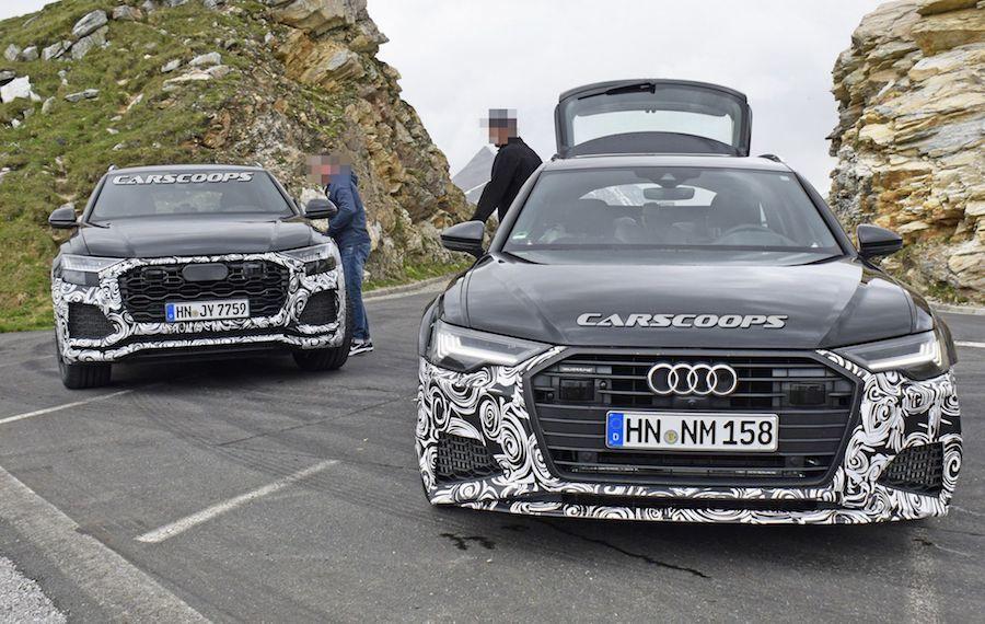 RS Q8與RS6偽裝車同時入鏡。 摘自Carscoops.com