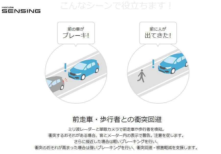 日本市場Honda SENSING 智慧安全主動防護系統中的CMBS碰撞緩解煞車...