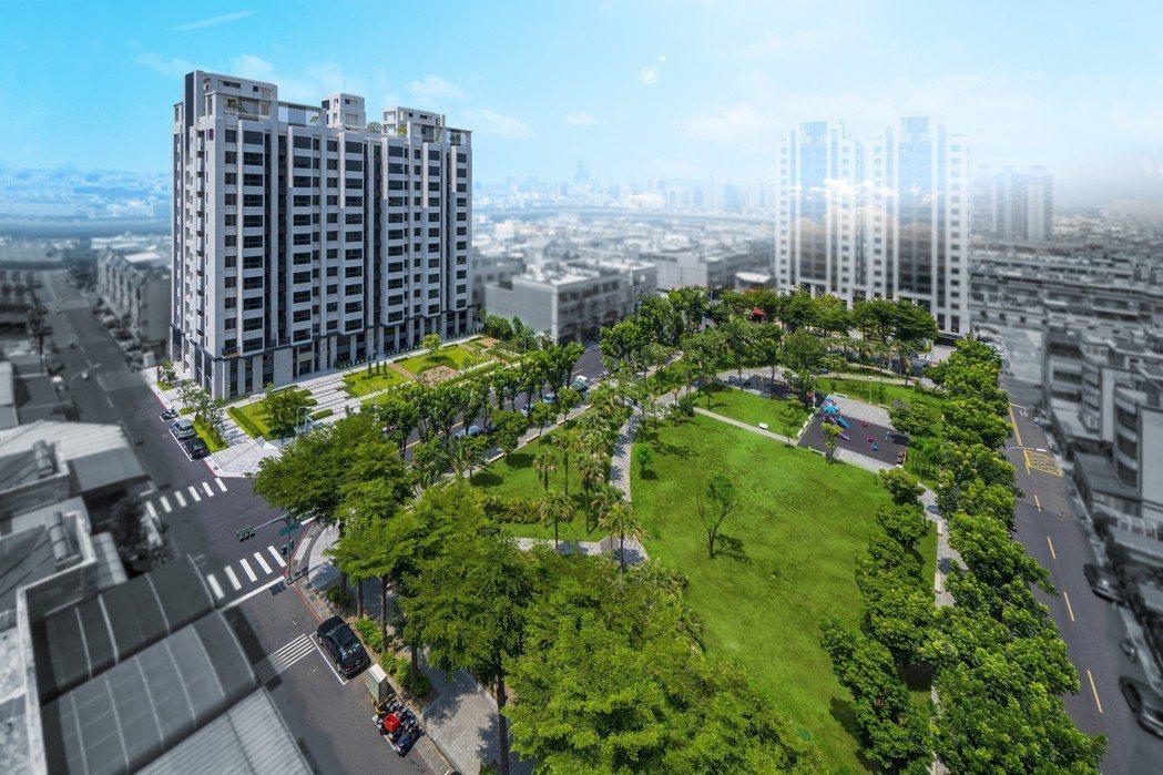 興璟建設「璟自然」面對千坪保安公園,為公園第一排住宅。 圖片提供/興璟建設