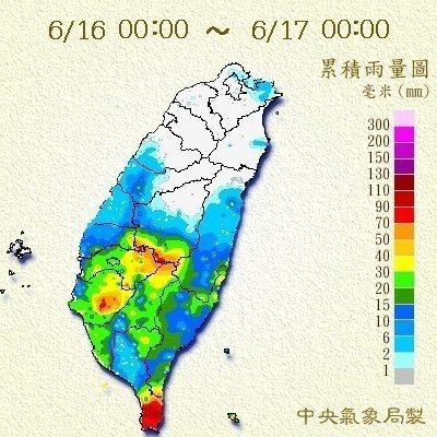 昨天一整天的雨量累積,看得出來雨勢並不大。圖/氣象局提供