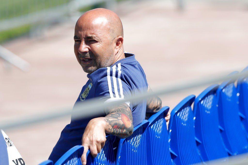 阿根廷國家足球總教練森保利(Jorge Sampaoli)。 美聯社