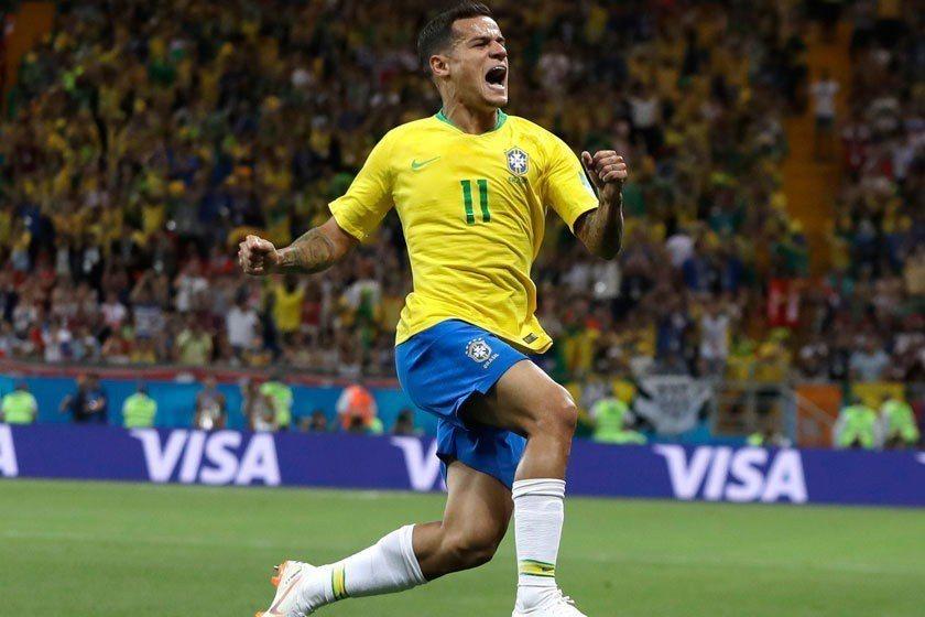 庫蒂尼奧在開賽20分鐘後,就為巴西隊先踢進一球。 美聯社