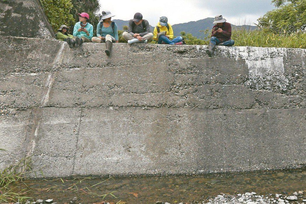兩個人高的碇橋溪固床工,把一條天然野溪變成攀岩場。 記者黃仲裕/攝影