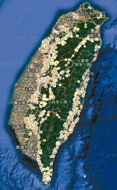 民間團體繪製被整治的野溪分布圖,未公布的有多少不得而知。 圖/劉哲瑋提供