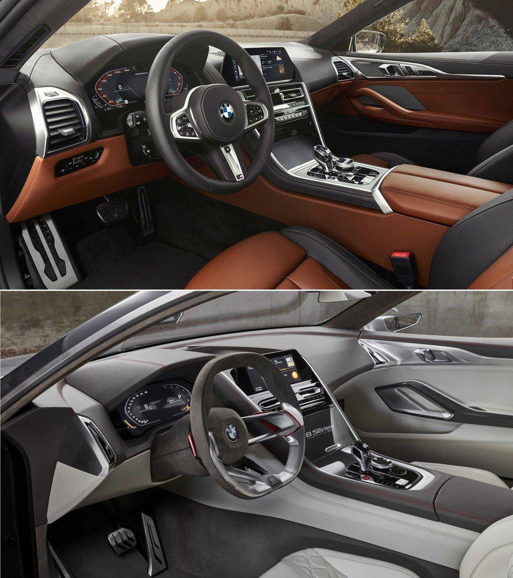 上圖為新世代BMW 8 Series Coupe內裝,下圖為BMW Concep...