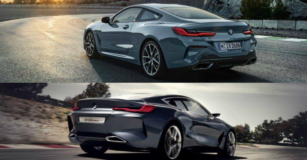 上圖為新世代BMW 8 Series Coupe,下圖為BMW Concept ...