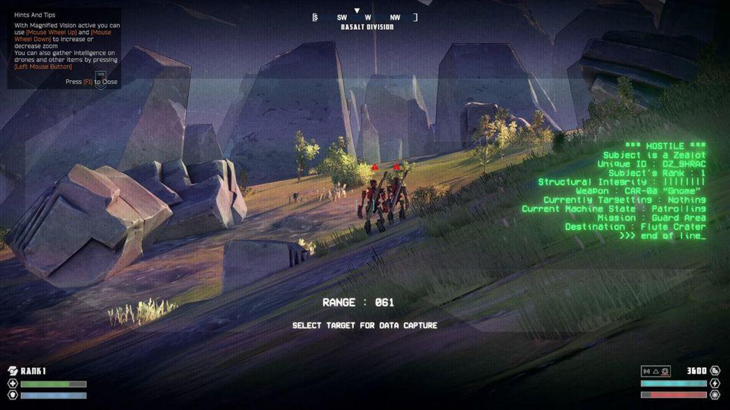 ▲角色未持武器時會自動切換成偵查望遠鏡模式,瞄準敵人或物件就能讀取數據或標記。