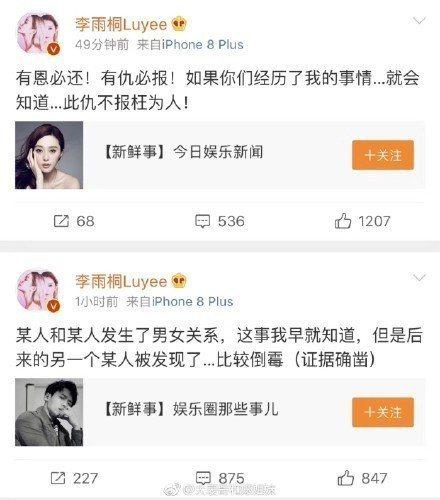 網紅李雨桐爆料薛之謙和李小璐也曾有一腿。圖/摘自微博