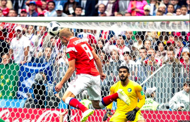 世足賽開幕賽俄羅斯以五比0大勝沙烏地阿拉伯。(中央社)
