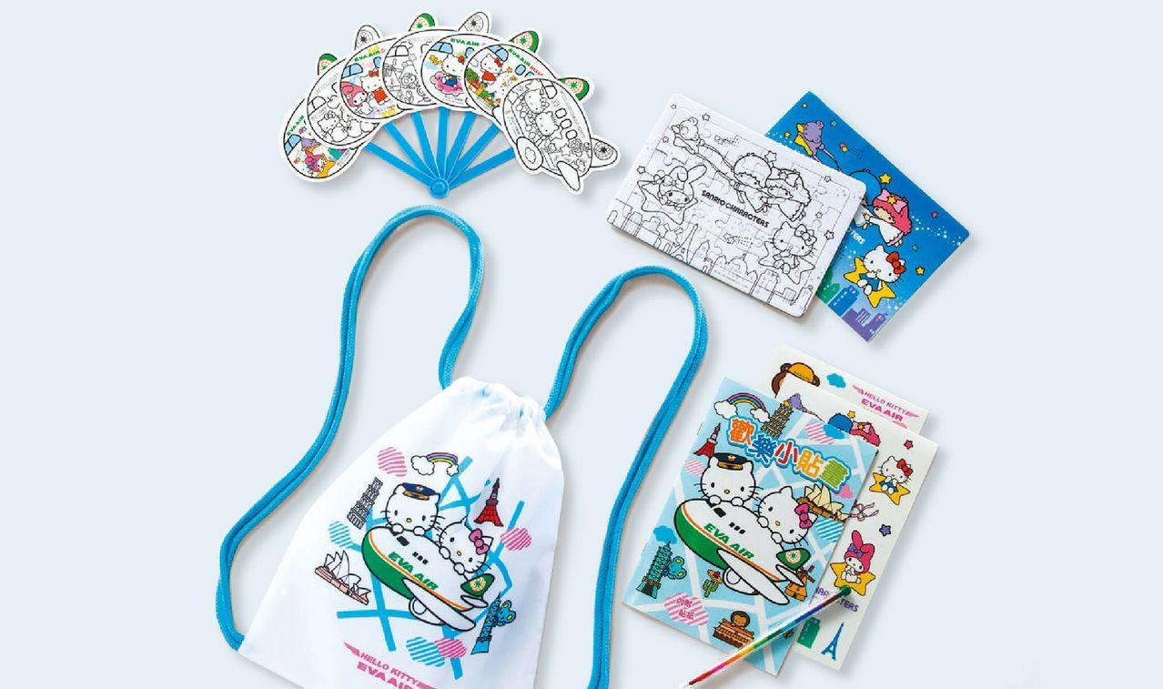 2017年長榮限量暑期兒童玩具包,有彩繪機家族造型扇、貼畫本及著色拼圖等。