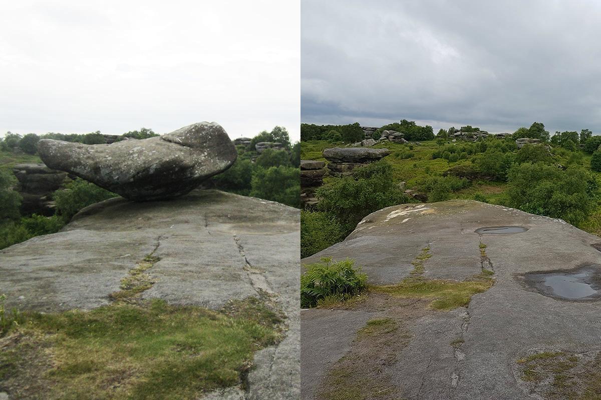 五名青少年推下岩石群中的其中一塊,如今已不復見頂端的岩石。圖擷自 Newsw...