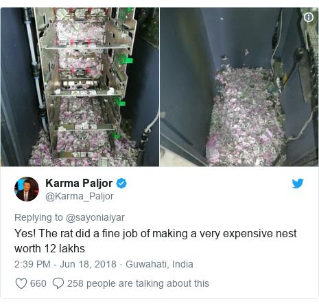 CNN編輯Karma Paljor在推特貼出ATM內被老鼠咬成碎片的紙鈔,裡面還...