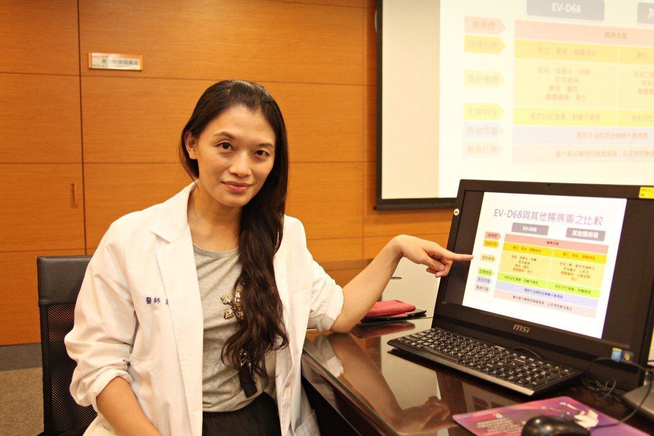 成大醫院小兒急診科醫師郭馥君提醒注意腸病毒D68型。圖/成大醫院提供
