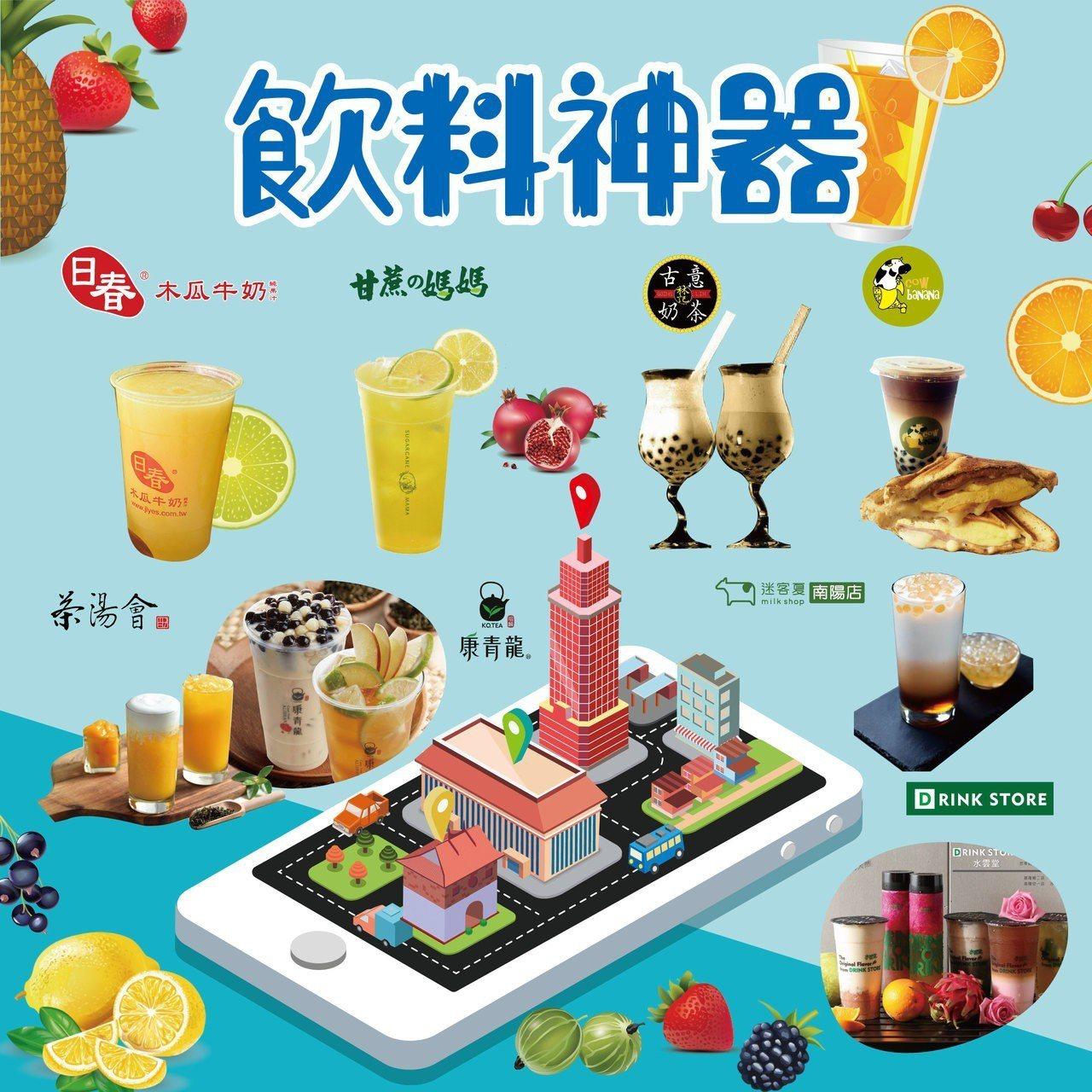 新光三越台北站前店推出商圈美食節,出示新光三越App享飲品優惠。圖/新光三越提供