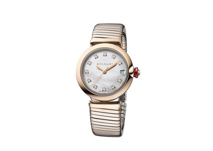 BVLGARI LVCEA TUBOGAS系列玫瑰金錶帶腕錶,售價約339,00...