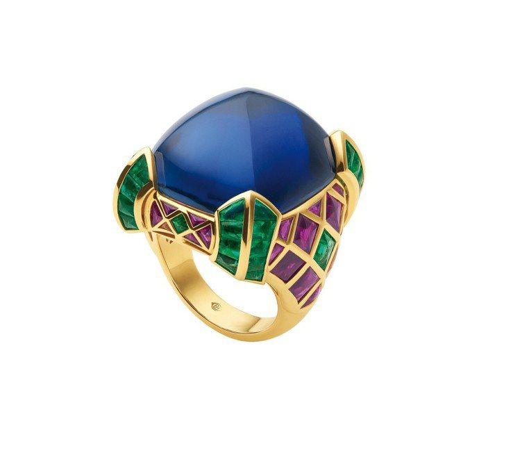 BVLGARI Hertaige典藏系列藍寶石與祖母綠戒指。圖/BVLGARI提...