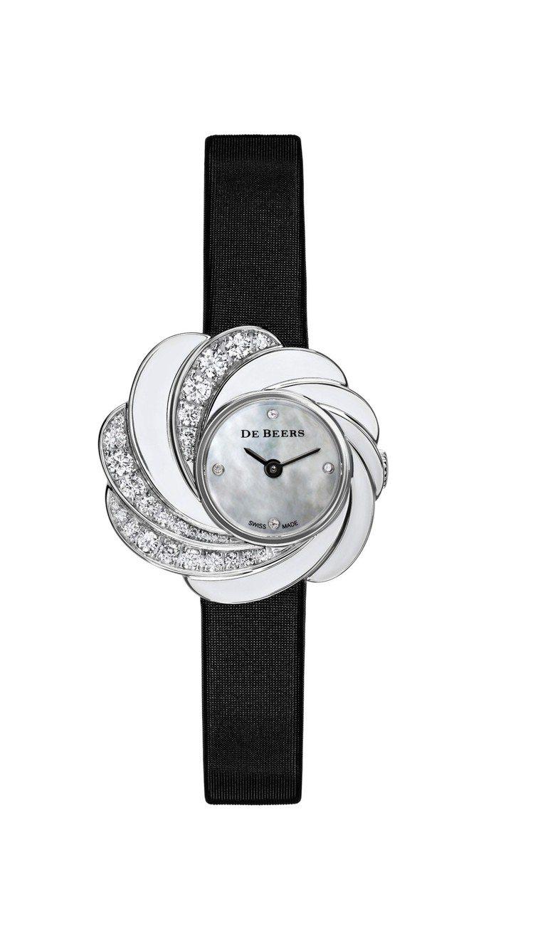 De Beers Aria半鑲鑽珍珠母貝腕表。圖/De Beers提供
