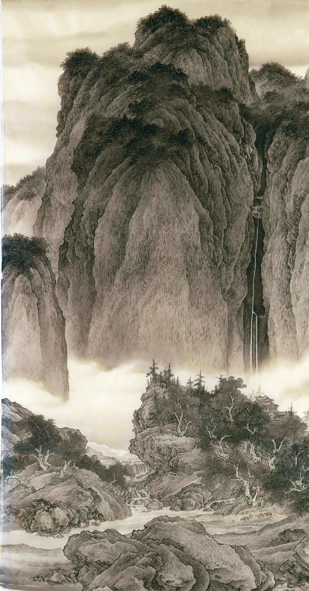 劉墉臨范寬〈谿山行旅圖〉,絹本,207×104CM,2018。