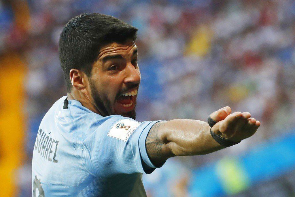 蘇亞雷斯為烏拉圭攻下致勝一球。 美聯社