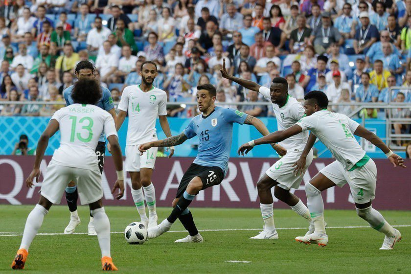 沙烏地阿拉伯隊想耗烏拉圭隊的體力後再做最後一搏,可惜這個策略最後失敗。 美聯社