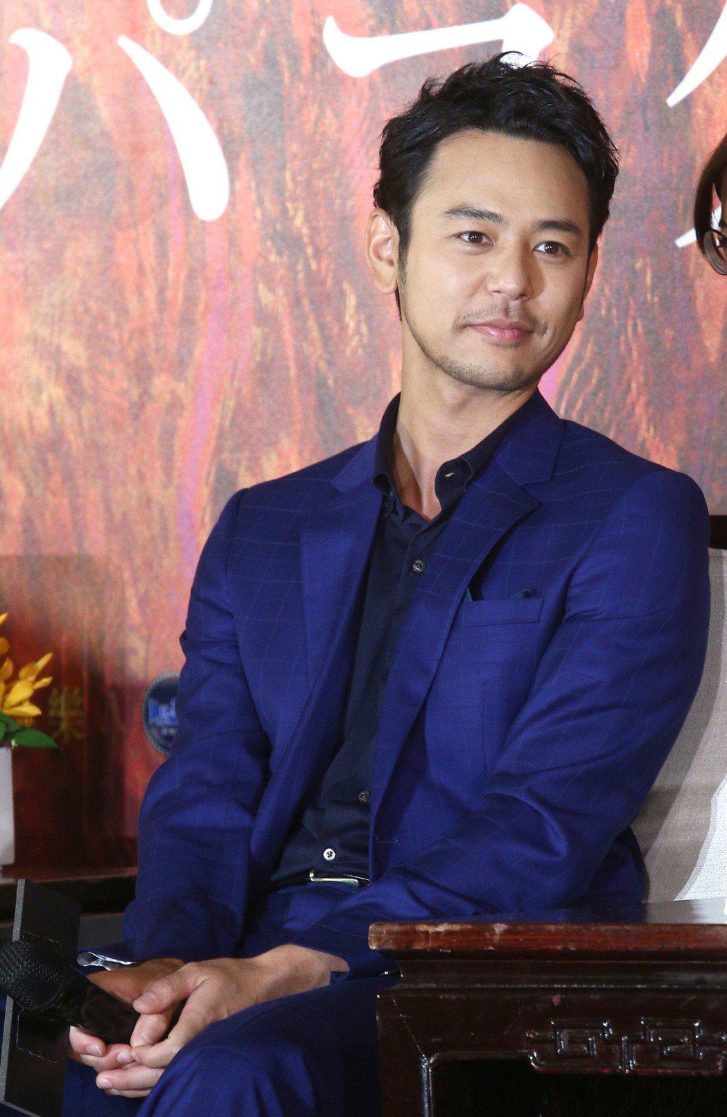 妻夫木聰稱讚台灣「很性感」,開心能在台灣待上一個多月拍戲。記者蘇健忠/攝影
