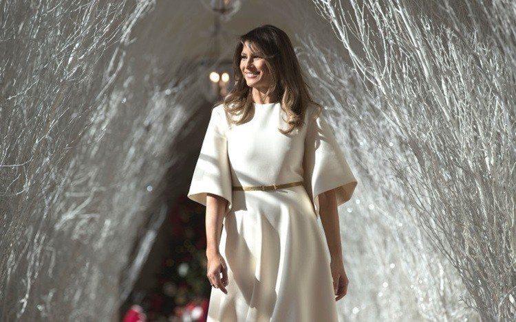 梅蘭妮亞川普去年穿Dior的洋裝過聖誕節。圖/美聯社