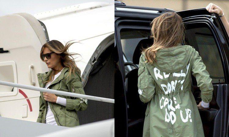 梅蘭妮亞川普穿著印有「我真的不在乎,你呢?」字樣的外套探視非法移民美國的兒童,引...