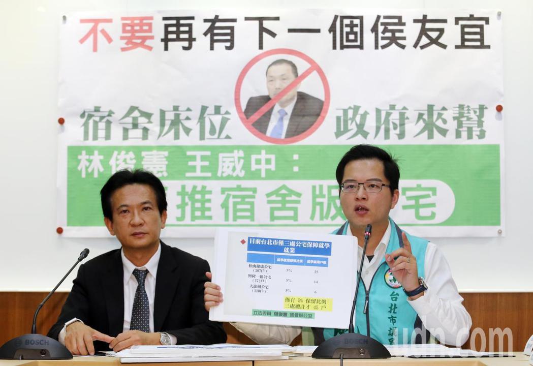 民進黨立委林俊憲(左)、市議員王威中(右)上午在立法院舉辦「二成大學生住蟻居 應...