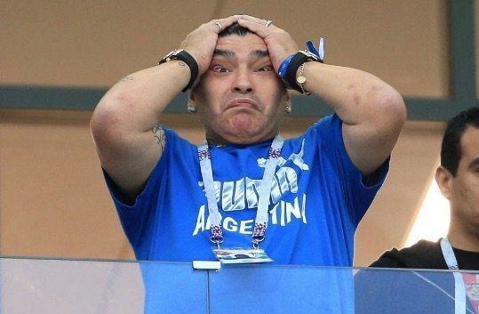 阿根廷傳奇球星馬拉度納看到國家隊的表現也無言以對。翻攝 BBC
