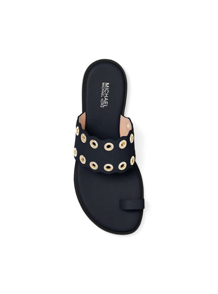 MMK皮革深藍色拖鞋,價格未定。圖/MICHAEL KORS提供
