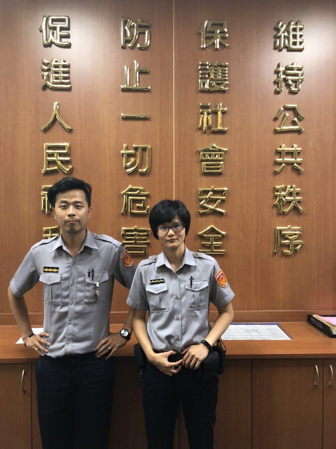 員警廖彥翔、謝宜蓁成功攔阻詐騙。記者李承穎/翻攝