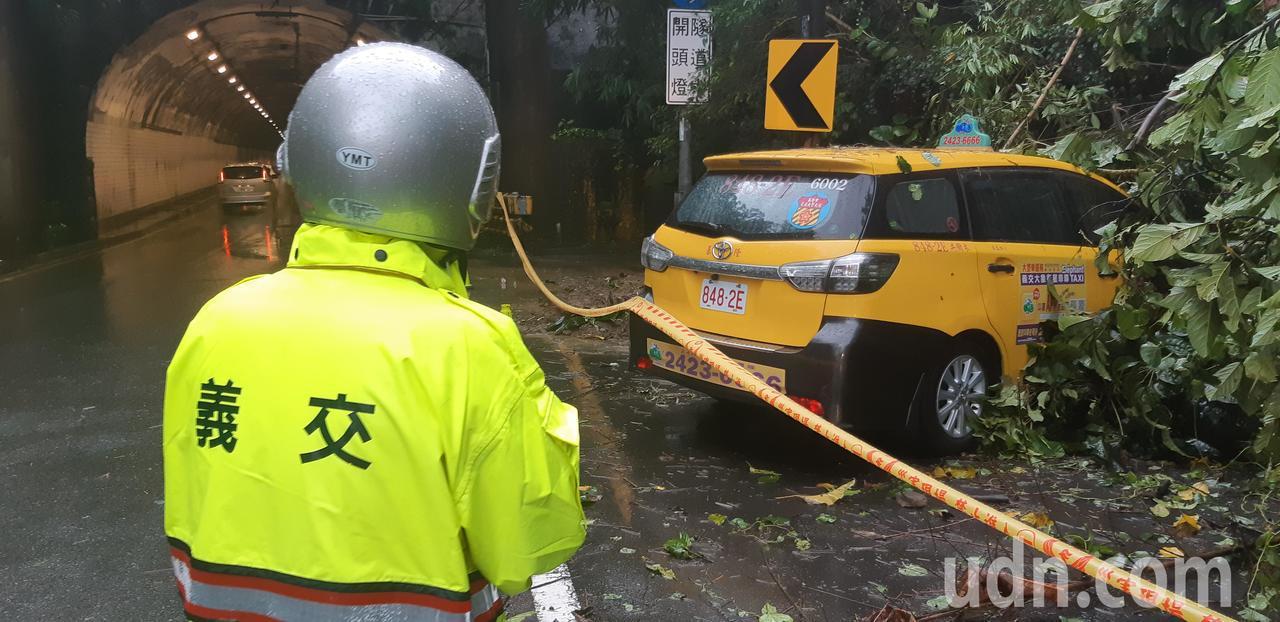 臨停八堵隧道口邊坡下的小黃被滑落路樹壓著,車主直呼「怎麼辦」。記者賴郁薇/攝影