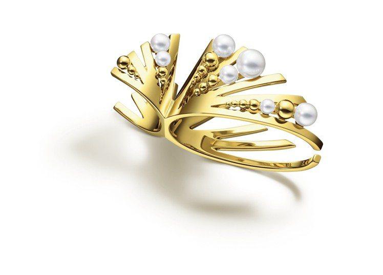 MG TASAKI GRAIN珍珠黃K金指間戒,379,000元。圖/TASAK...