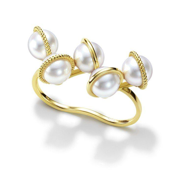 MG TASAKI WOVEN珍珠黃K金雙指戒,175,000元。圖/TASAK...