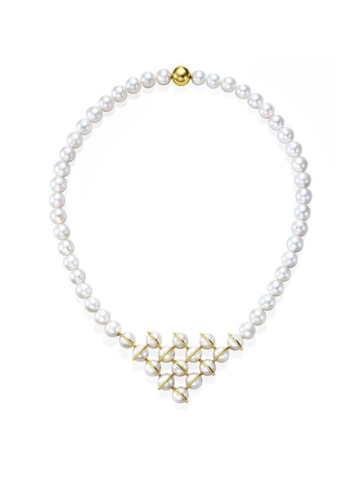 MG TASAKI WOVEN 珍珠黃K金項鍊,806,000元。圖/TASAK...
