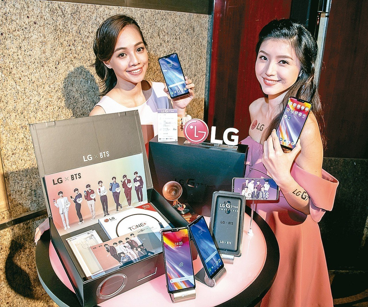 LG G7+ThinQ由代言人BTS防彈少年團魅力加持,推出一系列預購活動。 圖...