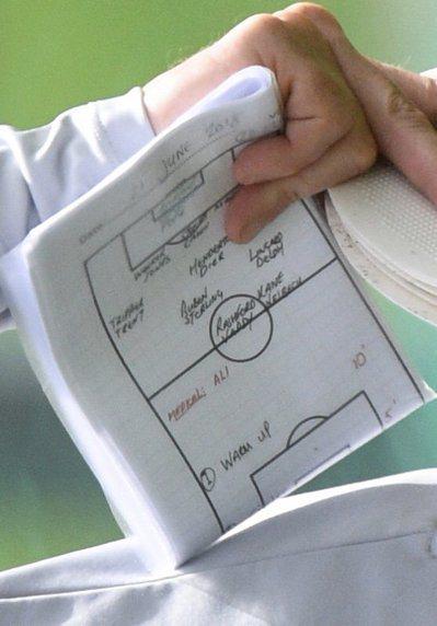 英格蘭隊助理教練霍蘭(Steve Holland)手中對折了兩次的A4紙,疑似意...