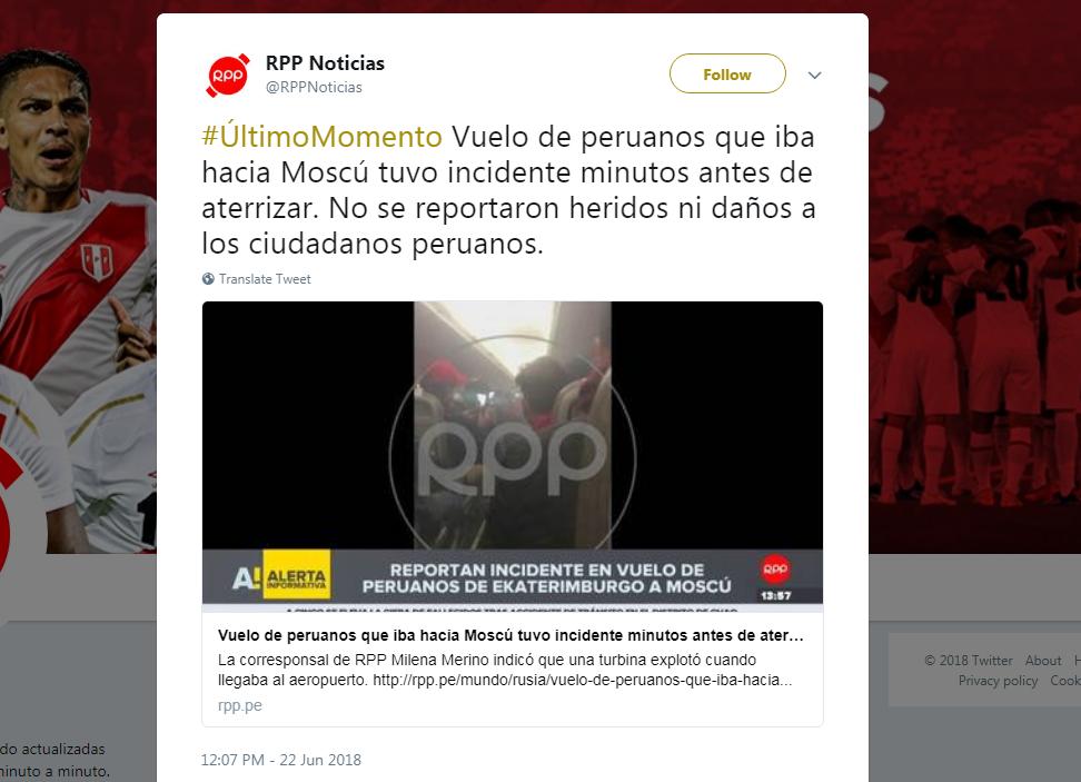 載有至少70名秘魯球迷的飛機在空中冒煙,所幸並沒傷亡傳出。 截圖自推特