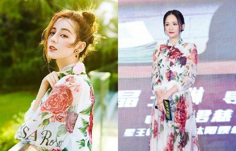 迪麗熱巴(左)、和陳喬恩(右)穿了同一件洋裝,都穿出青春仙氣感。圖/擷自微博