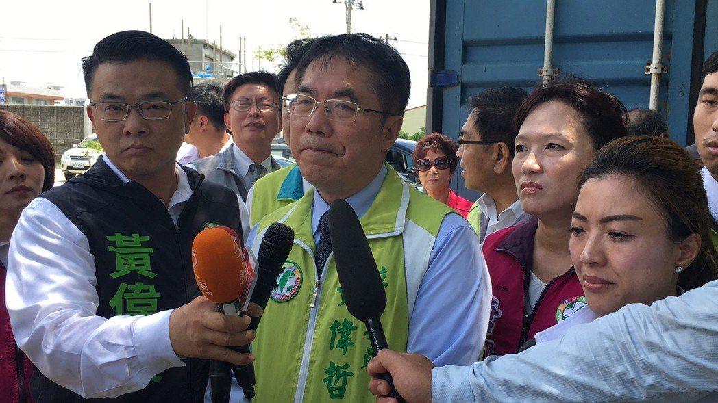 民進黨台南市長參選人黃偉哲(中)。 圖/聯合報系資料照片