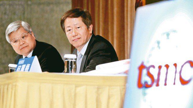 圖為台積電董事長劉德音(右)、總裁魏哲家(左)。 報系資料照