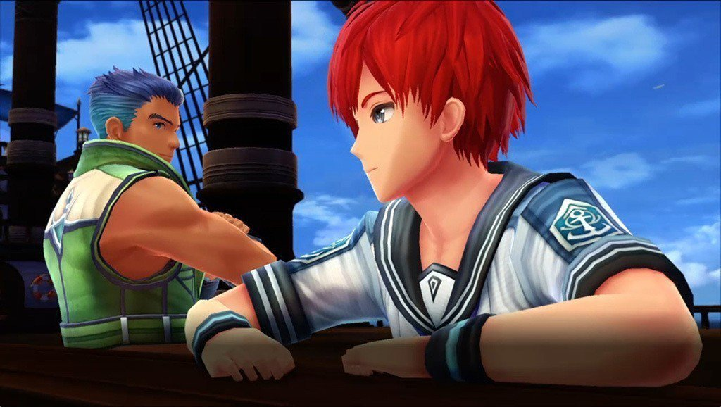 紅頭髮的帥氣男子就是《伊蘇》系列一直以來的唯一男主角,亞特魯,旁邊的短髮肌肉漢則...