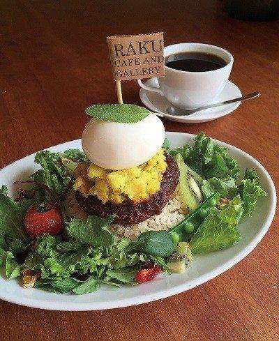 RAKU ロコモコタワー ( 夏威夷米飯堡塔)¥1380/特製紅酒醬煎煮的多汁漢...